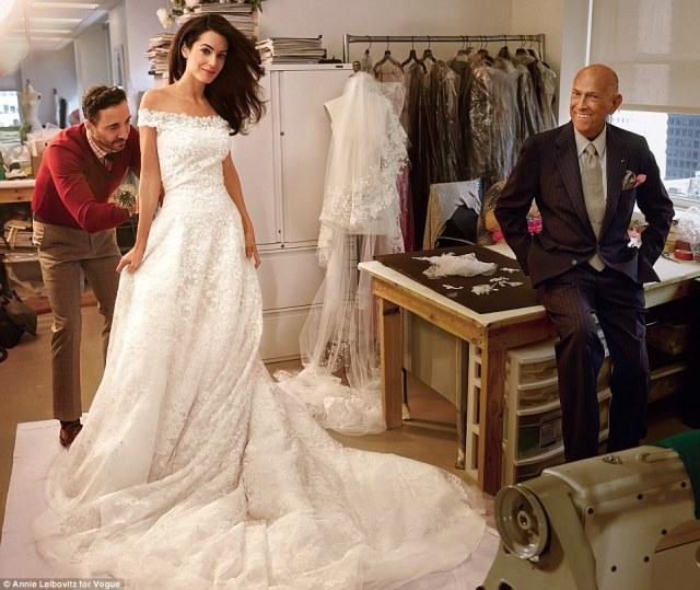 Amal Alamuddine Oscar de la Renta Wedding Gown