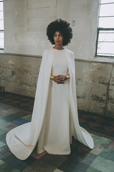 Solange wore an elegant floor-length Humberto Leno for Kenzo gown at her New Orleans wedding ceremony.