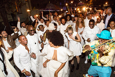 Solange Knowles and her wedding guests danced through the streets of New Orleans as a live band played.