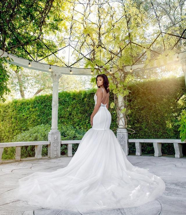Wedding Ceremony Look: Eniko Parrish looking beautiful in her custom Vera Wang gown.
