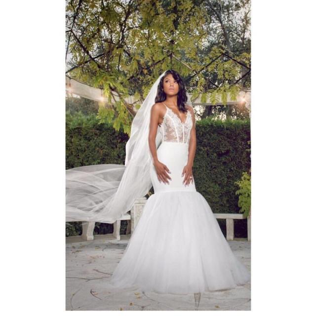 Wedding Ceremony Look: Eniko Parrish looking beautiful in her custom Vera Wang gown