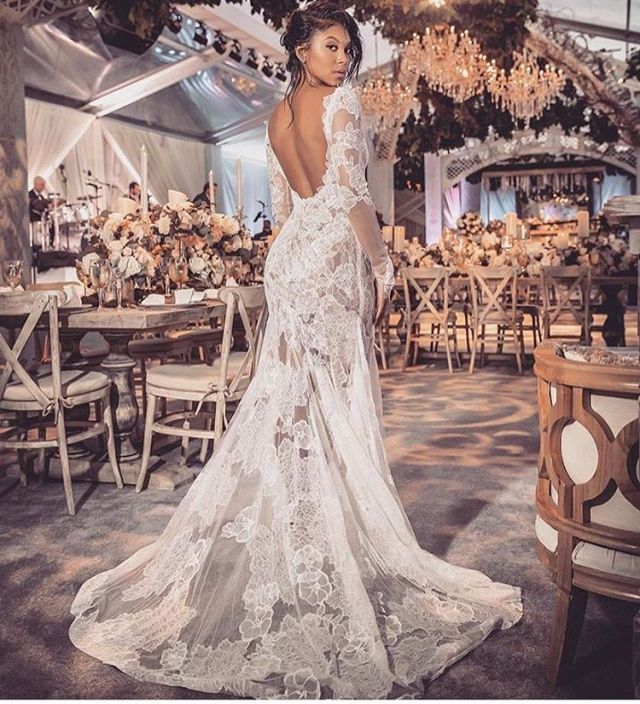 Eniko wears a Vera Wang a beautiful lace gown for her wedding reception