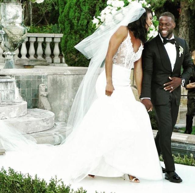 Eniko and Kevin Hart after their nuptials